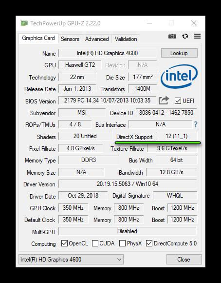 Графа DirectX Support в окне утилиты GPU-Z