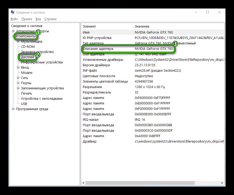 Графа Описание адаптера в сведениях о системе Windows