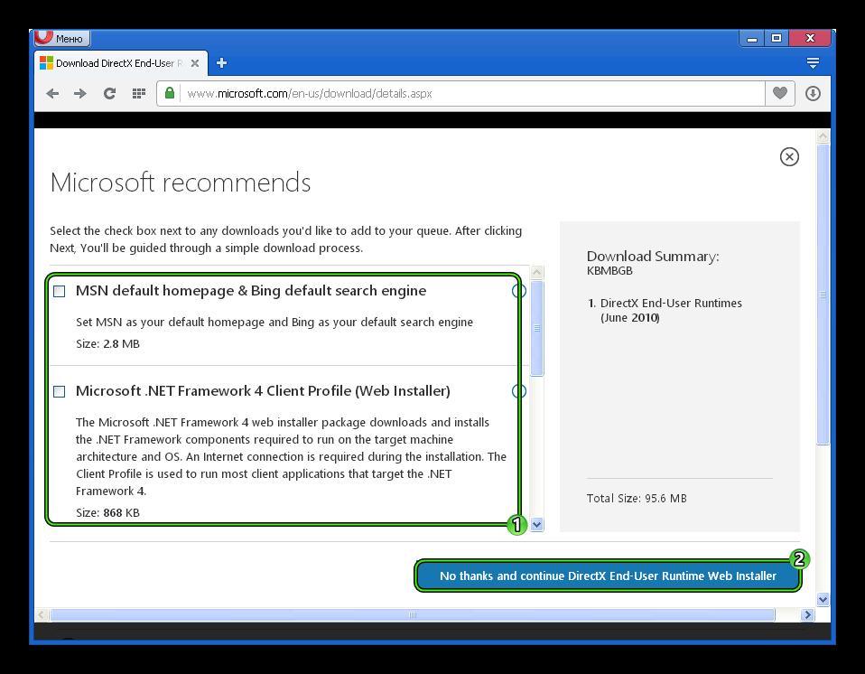 Начало загрузки DirectX End-User Runtimes (June 2010) с официального сайта для Windows XP