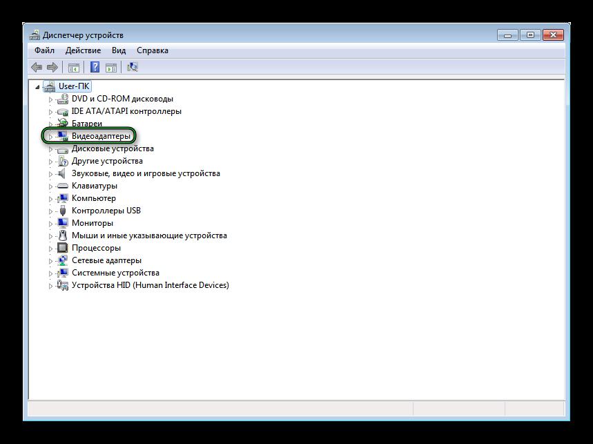Раздел Видеоадаптеры в Диспетчере устройств для Windows 7